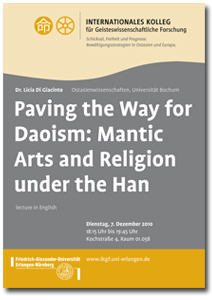 2010 Lecture, Licia Di Giacinto: Paving the Way for Daoism: Mantic Arts and Religion under the Han, Preview Flyer